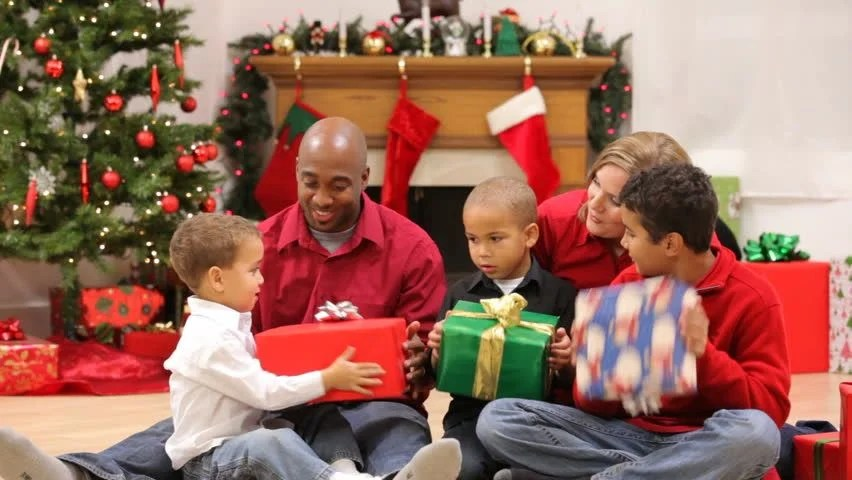 Excited Young Boy At Christmas Stock Footage Video 4680827