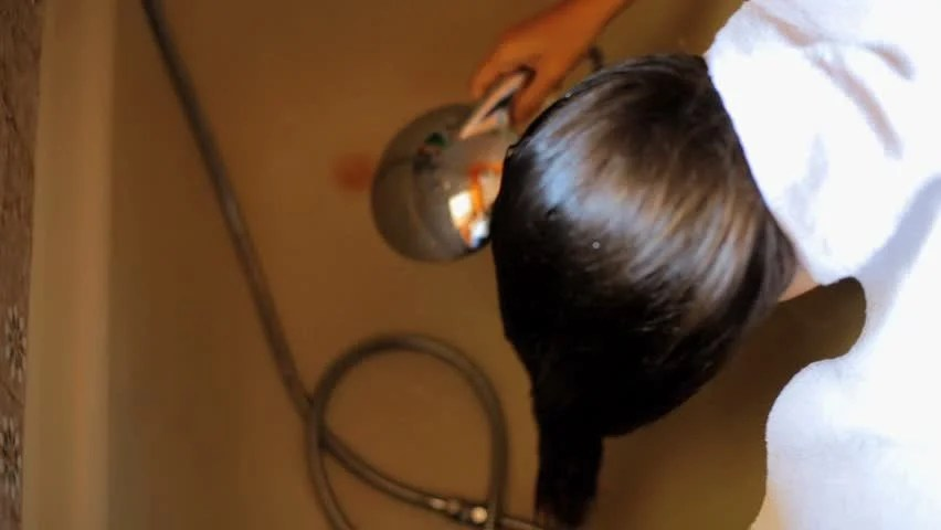 Woman With Long Hair Starting To Wash In Bath Tub Stock Footage Video 5174168 - Shutterstock