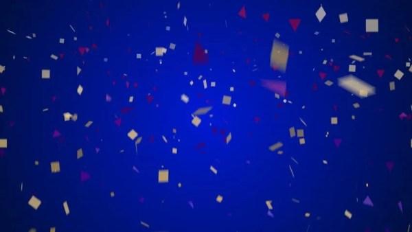 confetti falling over blue background
