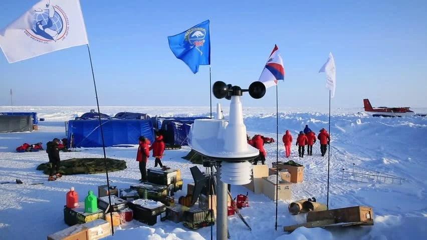 "ICE CAMP ""BARNEO"", NORTH POLE, ARCTIC - APRIL 10, 2015 ..."