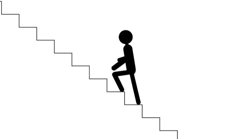 Entrepreneurship And Career Ladder. Running Man Climbs To