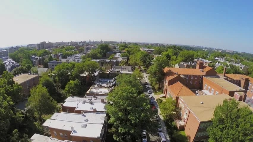 Cityscape With Bancroft Elementary School And Residential Neighborhood Mount Pleasant At Summer Sunny Day In Washington DC. Aerial View In ...
