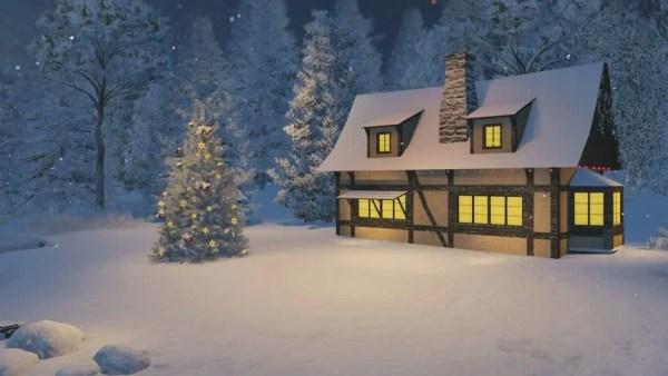 dreamlike winter scene. illuminated