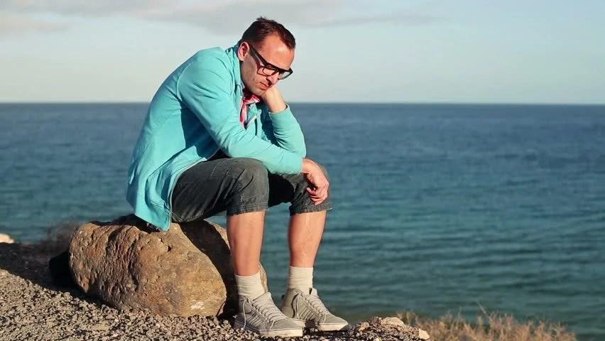 Rock Sitting Person Sad