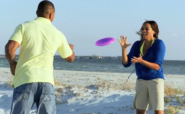 Happy African American Couple Fun Beach Games Young