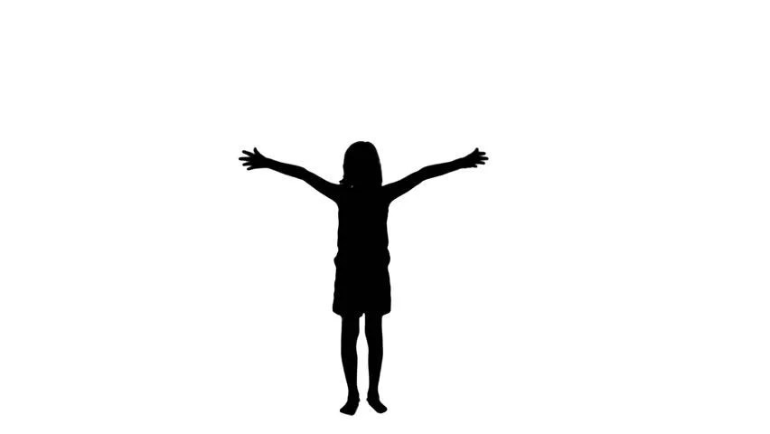 Child With Wide Open Arms Silhouette With Moon Stock