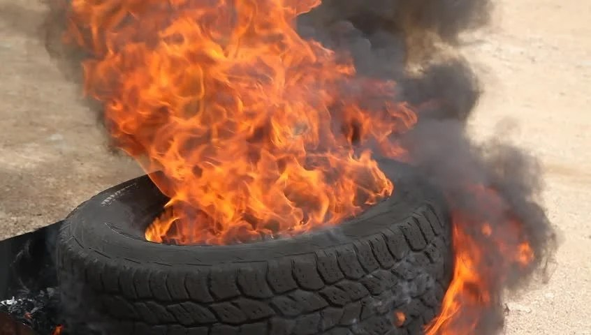 Burning Smoking Tire Fire Destroys Tire Stock Footage