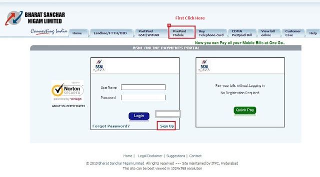 How to do BSNL Prepaid Online Recharge