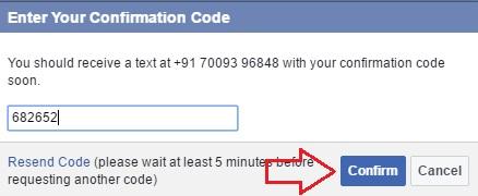 facebook two step verification otp