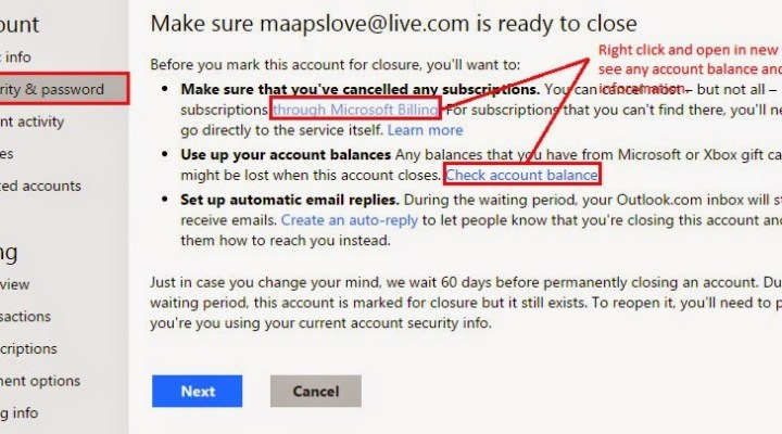 How to Delete a Windows Live/Hotmail Email Account