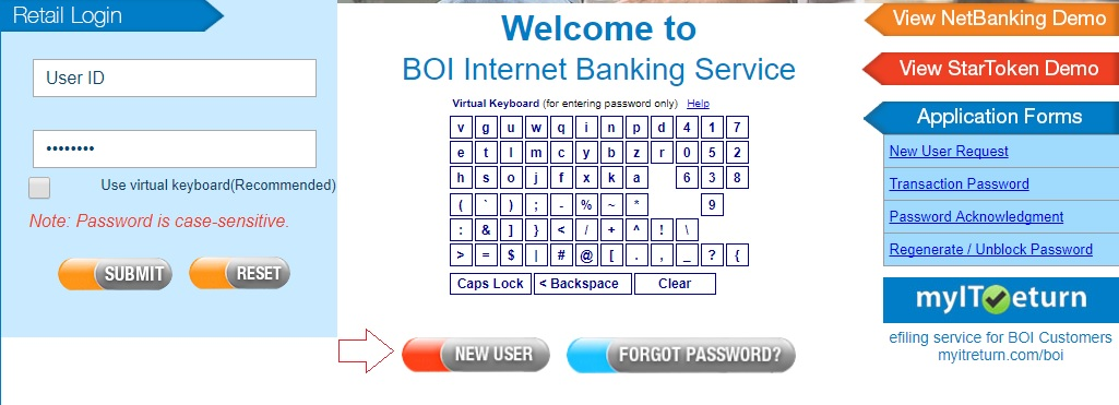 activate boi net banking