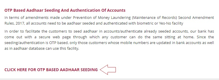 pnb bank otp based aadhaar seeding