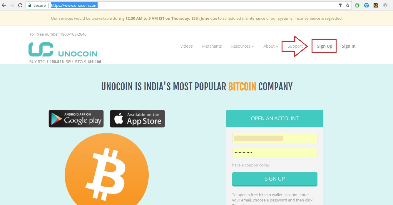 create unocoin account - buy bitcoin in India
