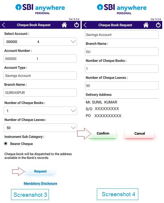 request sbi cheque book online