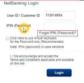 reset hdfc net banking password online