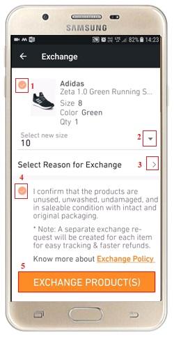 Exchange or Return a Product on Jabong app online