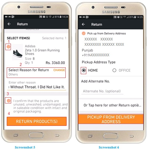 exchange or return a product on Jabong online shopping