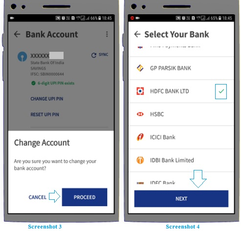 add new bank account in bhim app