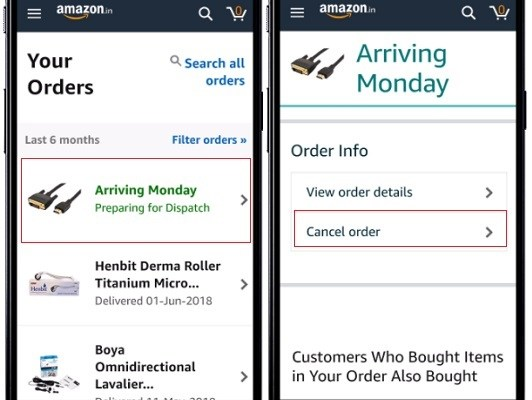 How to Cancel Amazon Order in App and Website