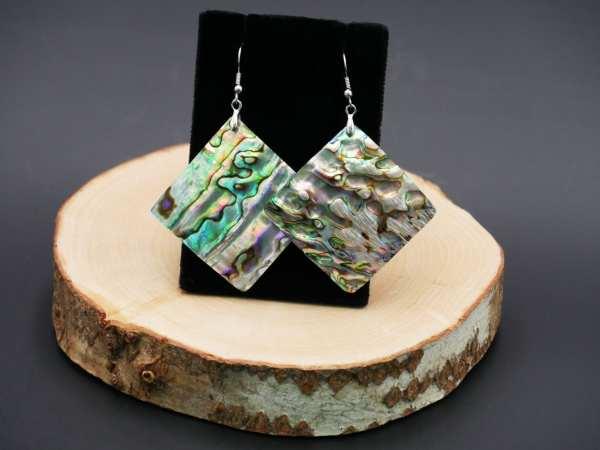 Large Abalone shell Diamond shaped Earrings