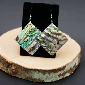 Large Abalone shell Diamond shaped Earrings