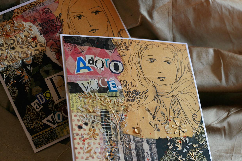 Cartões feitos com papéis comuns e desenhos