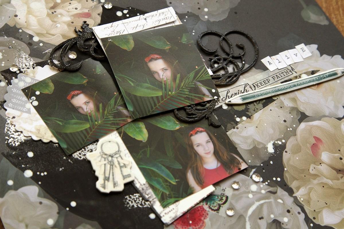 Chipboard, cristais e respingos de tinta usados na página de scrapbook feita por Ilana Polakiewicz para o Desafio # 69 Scrap entre Amigas