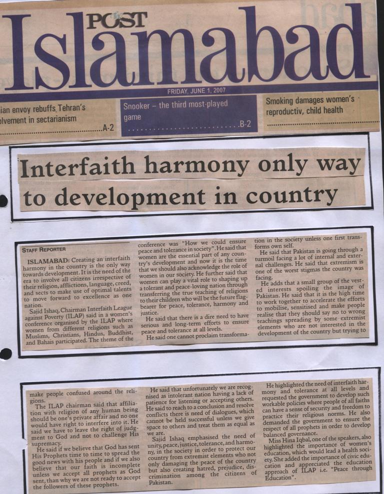 Interfaith harmoney only way to development in country