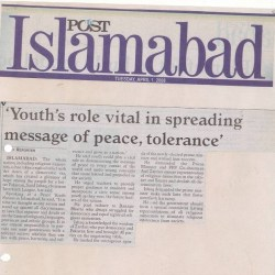'Youth's role vital in spreading message of peace, tolerance'