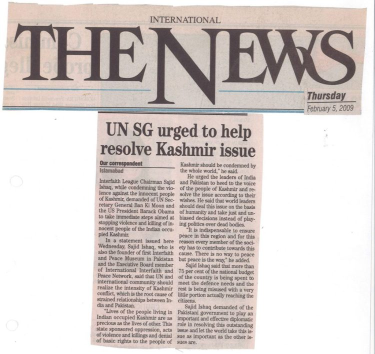 UN SG urged to help resolve Kashmir issue