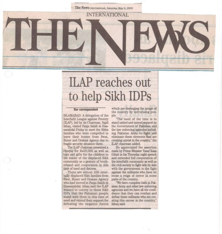 I-LAP reaches out to help Sikh IDPs