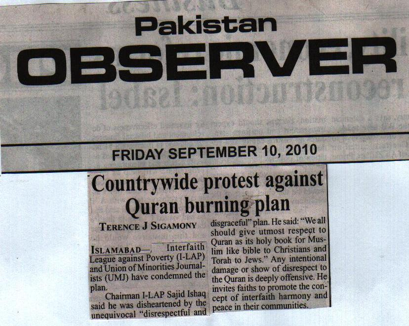 Countrywide protest against Quran burning plan