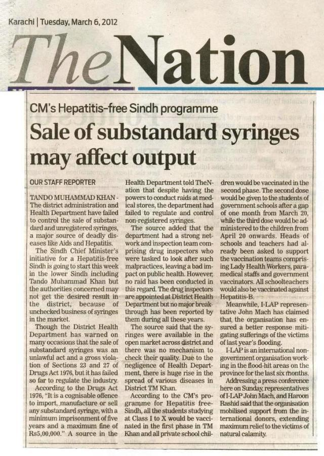 CM's Hepatitis-free Sindh programme Sale of substandard syringes may affect output
