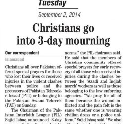 Christians go into 3-day mourning