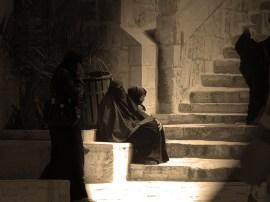 Women in black in Al Aqsa stairs