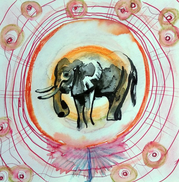 Birth of an Elephant 20x20cm