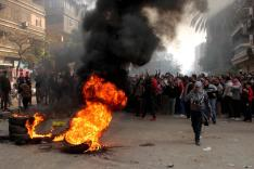 Clashes on the anti-Mubarak revolt anniversary