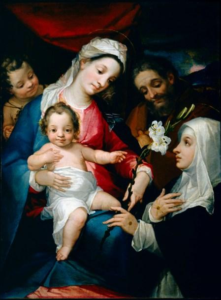 2 Alessandro Casolani, S. Famiglia con S. Giovannino e S. Caterina d'Alessandria chigi, Mostra Pienza