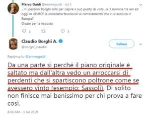 A Borghi non è noto il Piano Rinaldi