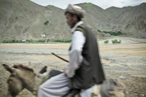 Man traveling on donkey in the Kotcha River valley.