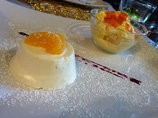 Bavarese al mandarino con gelato ai cachi