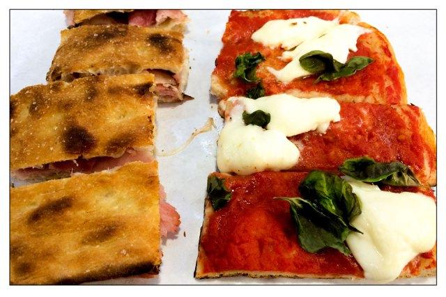 Tajo Focaccia prosciutto e stracchino - Pizza pomodoro, mozzarella e basilico