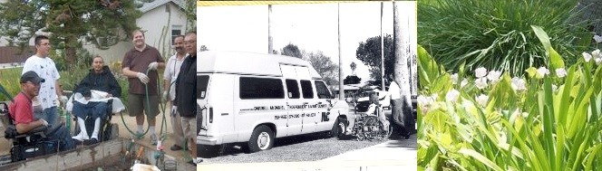 Three pictures side-by-side. Clients in Training House Garden, six men, two in wheelchairs; black and white photo of old ILCSC accessible van parked in front of the ILCSC Van Nuys Service Office; man pushing girl in wheelchair towards van, and picture of plants growing in the ILCSC Training House Garden.