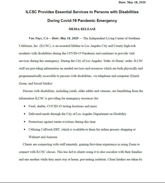 Page 1 of May 18, 2020 Press Release, ILCSC Provides Essential Services to Persons with Disabilities During COVID-19 Pandemic Emergency.