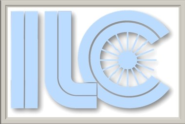 ILC logo in blue, with gray shadowing. Looks 3-D. White background with a gray frame.