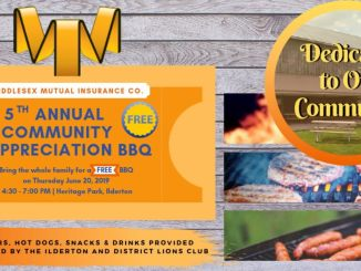 Middlesex Mutual Insurance Co. Free BBQ. Thursday, June 20 from 4:30-7:00. In Heritage Park, Ilderton