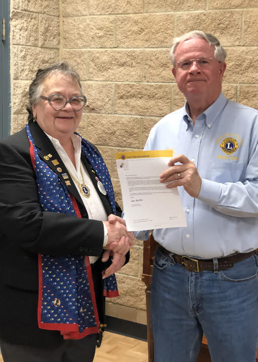 District Governor Barb Tuxford and Lion Murray McDonald