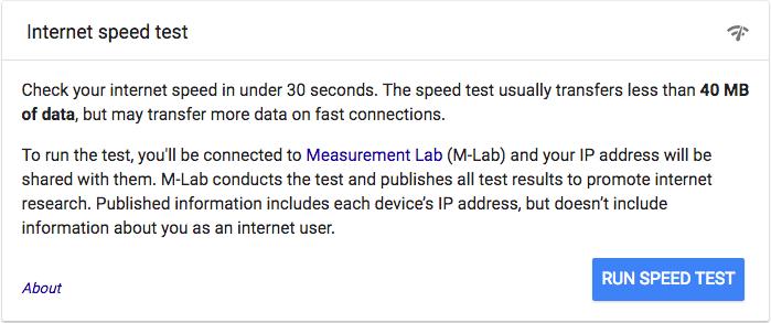 Run the Internet Speed Test