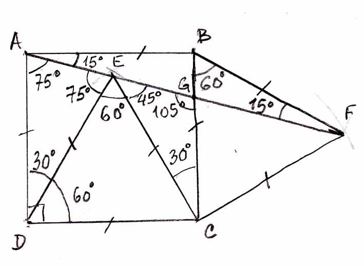 Démontrer que 3 points sont alignes, exercice de triangles