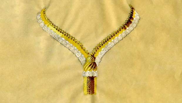 gouaché Van Cleef & Arpels du collier Zip 1950